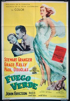 Original Grace Kelly movie poster Green Fire 1954 by Posteropolis, $60.00