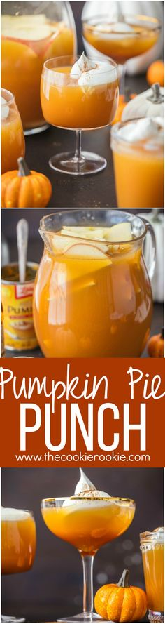 This PUMPKIN PIE PUNCH is the ultimate Thanksgiving cocktail! With apple cider, real pumpkin, and cream soda you'll never believe how tasty this party punch can be. Such a unique and fun holiday drink recipe. via (thanksgiving treats pumpkin) Thanksgiving Cocktails, Holiday Drinks, Thanksgiving Recipes, Fall Recipes, Holiday Recipes, Fall Drinks, Party Drinks, Thanksgiving Punch, Holiday Cocktails