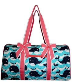 Splash Whale Print Quilted Duffle Bag Coral Pink Trim