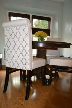 Not Your Average Heather: Lattice - Not Just For Your Garden - DIY stenciling on dining room chairs using the Iron Lattice from stencilease.com