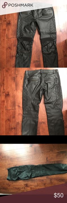 Zara Leather Woman Trousers Zara Leather Woman Pants , Zippers on pockets and knee Zara Pants Straight Leg