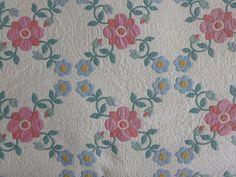 Antique Applique Quilt Hand Stitched Handmade Roses Flowers Floral Lattice   eBay