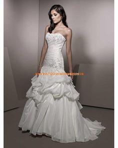 Luxuriöse romantische Brautkleider aus Taft Meerjungfrau