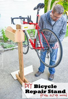 Make Your Own Bicycle Repair Stand Bike Tutorial - Learn how to make a bicycle repair stand out of wood scraps. This frugal project goes together quickly and will help you to make adjustments to your bike.