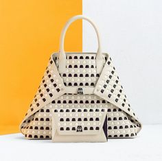 Our signature Ai bag goes even more geometric with a woven trapezoid insert. We love its clean lines and subtle yet funky pattern. Messenger Bag, Hand Weaving, Gems, Stripes, Handbags, Clean Lines, Pattern, Leather, Spring