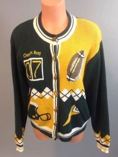 830521d2e Christopher  amp  Banks Vintage Hand Embroidered Green Bay Packers Sweater  L 135  ChristopherBanks