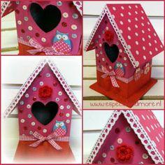 Van een simpel vogelhuisje een vrolijke accessoir in jeen... Door marijkedejager777