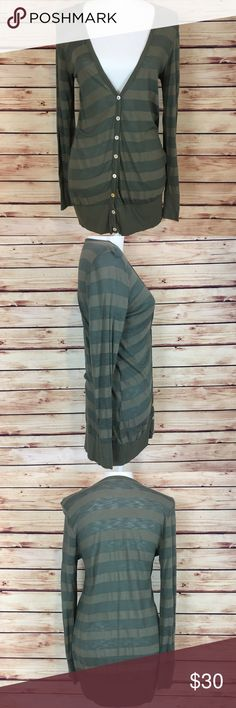 Splendid Striped Button Down Cardigan V Neck Green Splendid striped cardigan. Green. Slightly sheer. Deep v neck. Long sleeve. Button down. Size large. Excellent preowned condition with light pilling. Splendid Sweaters Cardigans
