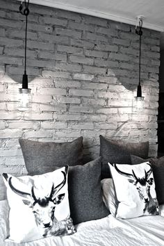 great masculine bedroom - grey brick, grey bed linens, white sheets and great graphic throw pillows | Future Home!  | Bricks, Brick Walls and Brick …