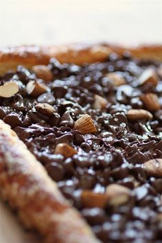Chocolate Almond Pastry from Nutmeg Nanny. Easy chocolate dessert that is sure to impress. I might use Nutella.