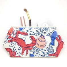 Nautical Cosmetic Bag Nautical Gift Beachy Pouch Makeup