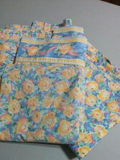 BIG WEEKEND SALE! BUY IT NOW! FREE SHIPPING! Vintage Croscill 2 Fiesta Blue Yellow Floral Full/Queen Flat Sheets Chapel Hill  | eBay