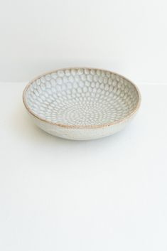 Malinda Reich Large Bowl no. 618 - An incredible large serving bowl with soft grey glaze accented with a hand-carved oval pattern on the interior. - from QUITOKEETO.com