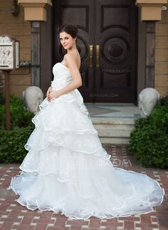 A-Line/Princess Sweetheart Chapel Train Organza Satin Wedding Dress With Lace Beading Flower(s) Bow(s) Cascading Ruffles (002034112)