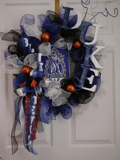 Duke Blue Devils Wreath by LanaRayneCreations on Etsy, $120.00....yeah, I will learn how to make this before paying $120.00...but I love it!