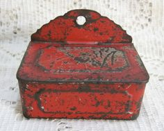 G-ma and G-pa had one of these hanging right next to the stove.  Great memory Primitive Tin Wall Hanging Match Box with original Red Paint