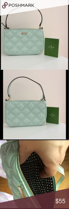 Kate Spade- Mint Quilted  Leather Clutch Kate Spade Mint Quilted leather clutch- perfect for phone, keys, for a night out. Perfect condition. Mint with polka dot interior. Has pockets inside. Strap is adjustable or you can change out and use a longer one.  8 inches wide x 5 inches high. Adorable! kate spade Bags Clutches & Wristlets