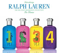 Encuentra en Arrocha la colección de fragancias RALPH LAUREN> Rosada: aroma sensual, Amarilla: aroma floral, Púrpura: aroma floral oriental y Azul: mezcla energizante y fresca.