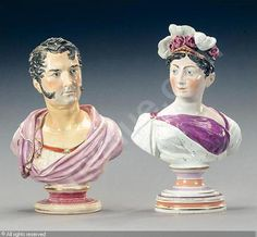 Busts of Princess Charlotte and Prince Leopold, J.& R.Riley   Date : 1819 (Posthumous portrait of Princess Charlotte)