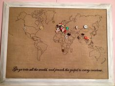DIY world map pinboard, to pin every country where you have used a WC :) Just get an old frame and some fabric at the second hand shop, paint the frame in the colour you like, print a map found on google and use carbon paper to draw it on your board. Than staple some foam on a board that is just a little smaller than your frame and stretch your map and staple it as well (make sure its in the middle). Create your own flags, buy a pin in the country itself our use vintage pins from the 60's…