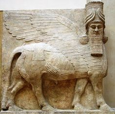 Sculpted relief of Lamasu, the human headed winged bull god from the palace of King Sargon II at Dur Sharrukin in Assyria (now Khorasabad, Iraq). c. 713-716 BCE.   http://im-akermariano.blogspot.com/2011_06_01_archive.html