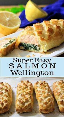Salmon Wellington - FOODS RECIPE Salmon Recipes, Fish Recipes, Seafood Recipes, Cooking Recipes, Salmon Patties Recipe, Wellington Food, Pinterest Recipes, Dessert Recipes, Desserts