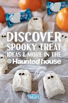 Spooky ghosts are lurking in the Pinterest Haunted House. Discover tasty yet terrifying Rice Krispies Treats recipes and other haunting Halloween ideas.