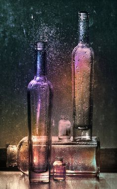 ~~Transparency ~ dewy colored bottles by ~Anti-Pati-ya~~(art photography) Vintage Bottles, Bottles And Jars, Glass Bottles, Perfume Bottles, Glitter Bottles, Magic Bottles, All Things Purple, Purple Glass, Shades Of Purple