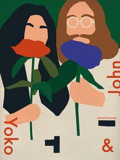 Make love, not war! 10 великих любовников с напоминанием о том, что действительно важно. http://tutdesign.ru/cats/illustration/9547-make-love-not-war.html #illustration, #portrait, #ono, #lennon