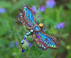 Summer dragonfly embroidered beaded brooch Bead Embroidery Art