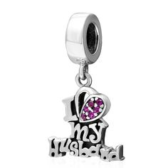 I Love My Husband Pendant for Anniversary Wedding 925 Sterling Silver Charms European Beads for Snake Chain Bracelets Shining Charm