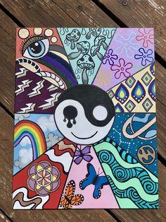 Canvas Easy Canvas Art, Simple Canvas Paintings, Small Canvas Art, Cute Paintings, Mini Canvas Art, Easy Art, Canvas Canvas, Psychadelic Art, Hippie Painting