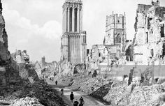 The ruins and cathedral of Caen, Normandy, France, c1944. The Battle of Caen from June to August 1944 was crucial to the Allied effort to break out from Normandy after the D-Day landings. The fierce fighting resulted in the destruction of much of the city.
