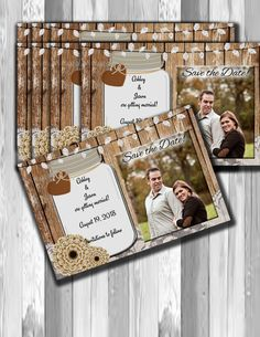 Save the date wedding announcement mason jar rustic by OldOwlPress
