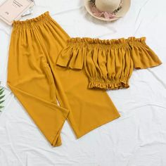 New 2018 Beach Two Piece Sets Clothes Women Sexy Slash Neck Crop Top Wiht Loose Pants Suits Summer Woman 2 Pcs Set Feminino Source by women dress Girls Fashion Clothes, Teen Fashion Outfits, Mode Outfits, Outfits For Teens, Girl Fashion, Clothes For Women, Punk Fashion, Lolita Fashion, Fashion Dresses