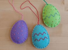 Stitch these sweet little felt eggs, filled with wool batting, and hang them up for Easter! Wool felt is an excellent fabric for kids to practice sewing on; it's thick and sturdy, and it doesn't un...