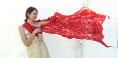 Red+shawl+scarf+felting+fire+wool+luxury+cape+wedding+by+Baymut,+$109.00