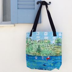 From an original mixed media painting of Koroni harbour in the south Peloponnese... This summery design makes an unusual and eye-catching designer Tote Bag for your summer holidays