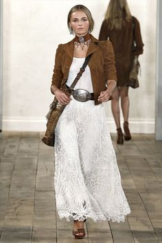 I like the juxoposition of this mix of texture between the jacket and the dress. (Ralph Lauren)