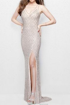 PRIMAVERA COUTURE on Sale: 3017 Embroidered Blush Sequin Gown Dress Buy from Best selection of authentic designer dresses online. Sequin Gown, Beaded Gown, Beaded Dresses, Evening Dresses, Prom Dresses, Formal Dresses, Sexy Gown, Buy Dress, Gown Dress