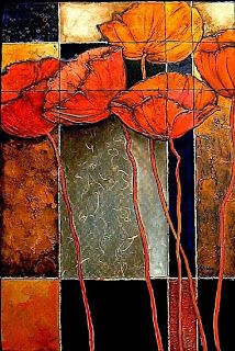 """Daily Painters Abstract Gallery: Contemporary Mixed Media Flower Art Painting """"Patchwork Poppies"""" by Colorado Mixed Media Abstract Artist Carol Nelson"""