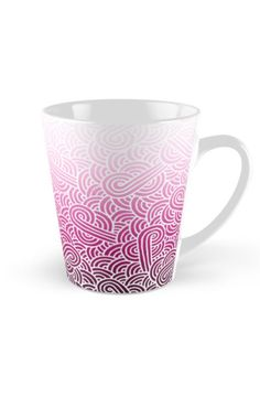 """Ombre pink and white swirls zentangle"" Tall Mug by @savousepate on @redbubble #pattern #drawing #doodles #zentangle #abstract #ombrepink #pink #pastelpink #magenta #fuchsia #white #gradientpink"