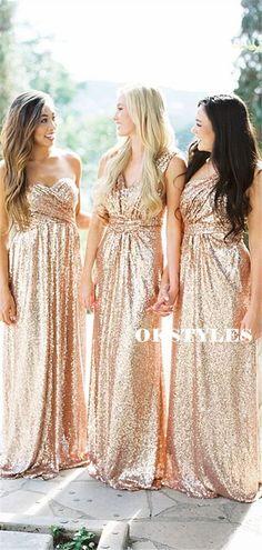 Sheath One-shoulder V-neck Sleeveless Long Sequins Bridesmaid Dresses, BD0615#bridesmaids #bridesmaiddress #bridesmaiddresses #dressesformaidofhonor #weddingparty #2020bridesmaiddresses