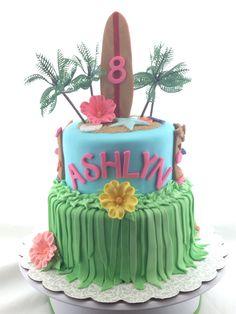 Hawaiian theme, sugar flowers, long surfboard, girl birthday cake, beach themed cake