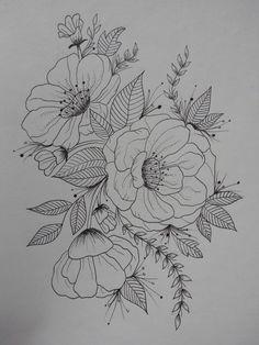 Flower art flower sketches, flower pattern drawing, floral drawing, p Flower Pattern Drawing, Pattern Sketch, Floral Drawing, Flower Patterns, Pencil Drawings Of Flowers, Flower Sketches, Art Drawings Sketches, Tattoo Drawings, Flower Tattoo Designs