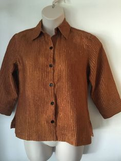 Shimmery Boxy Cropped Textured COLDWATER CREEK Rust Brown Blouse Shirt Size S - http://www.ebay.com/itm/322005165901?rmvSB=true