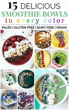 Transform Your Breakfast with 15 Delicious Smoothie Bowl Recipes Smoothie Detox, Best Smoothie, Vegan Breakfast Smoothie, Vegan Smoothies, Vegan Breakfast Recipes, Smoothies Bowl Recipe, Smoothie Bowls Vegan, Paleo Smoothie Recipes, Detox Breakfast