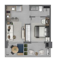 Plant illustration – Fit type 01 A Studio Floor Plans, Small House Floor Plans, My House Plans, Studio Apartment Layout, Small Apartment Interior, Apartment Design, Apartment Living, Apartment Ideas, Living Room