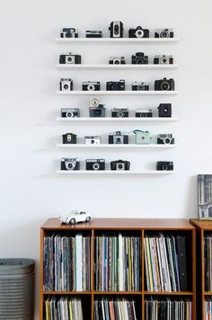 Such a fun idea for a wall. If you have that many cameras that is.