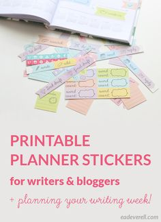 Printable planner stickers for writers and bloggers